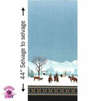 Michael Miller Winter On The Range Border Aqua 100% Cotton Fabric By The Yard