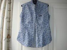Women's Vintage Pepe Jeans London Cotton Top Shirt Blue White Nikita Pocket S