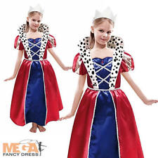 Royal Queen Girls Fancy Dress National British Kids Child Costume Outfit + Tiara