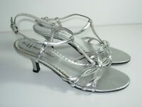 WOMENS SILVER METALLIC T-STRAP SANDALS SLINGBACK WEDDING HEELS SHOES SIZE 7 M