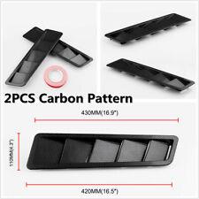 2Pcs Carbon Fiber Look Universal Car Bonnet Hood Vent Louver Cooling Panel Trim