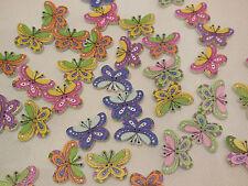 Tajadera Mariposa Madera cose en ropa de niños Botones Coser hágalo usted mismo 2.3 cm X 1,5 Cm