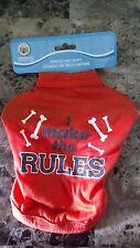"""Orange dog T-shirt - """"I make the rules"""" & dog bones on front N 7"""", L-9"""", G-12"""""""