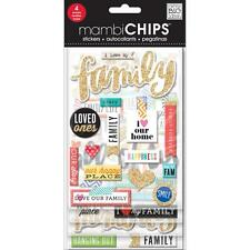 I Love My Family Chipboard Stickers With Gold Glitter 4 Sheets MAMBI Chips