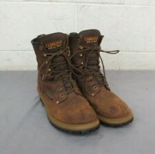 """Carolina Boot Company Waterproof 8"""" Logger Brown Leather Boots US Men's 7 LOOK"""