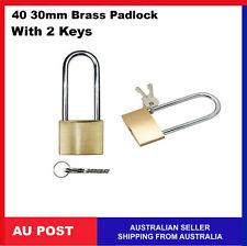 12 X 4cm Brass Padlocks W/ 2 Keys Keyed Security Locker Suitcase Luggage Travel