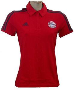 ADIDAS FC Bayern München Damen Polo T-Shirt Rot Gr S / 36 Fussball