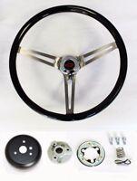 "64 65 Chevelle El Camino High Gloss Black Wood Steering Wheel 15"" Red Black cap"