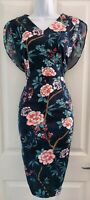 Womens Tu Dress size 12 blue pink flowers pencil party occasion office vgc
