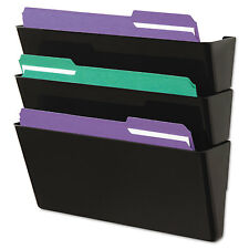 UNIVERSAL Recycled Wall File Three Pocket Plastic Black 08121