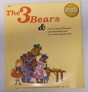 Vintage 1966 THE 3 BEARS Golden Records 45 RPM Vinyl Record in Sleeve
