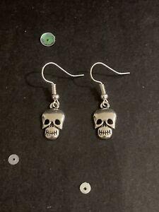 Silver Skull Earrings. Vintage Style Dangly Charm Earrings. Halloween Jewellery