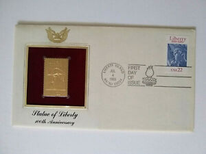 Statue of Liberty Gold 22K, 100th Anniversary Stamp, First Day of Issue