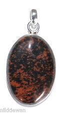 Argent Sterling Gemme de Cristal Acajou Obsidienne Bijoux Pendentif No.3111
