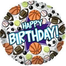 "HAPPY BIRTHDAY Sport CALCIO BASKET BASEBALL TENNIS - 18 ""Foil Balloon!"
