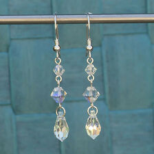 925 Sterling Silver Drop Earrings made with Clear AB Swarovski Elements Crystal