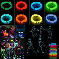 2M 1M 10M LED Flexible Neon Light Glow EL Tube Cool Wire Rope Home Car Decor