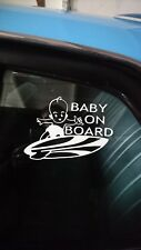 "COOL ""BABY ON BOARD"" FUNNY BUMPER PANEL STICKER SURFER CAMPER SURF BEACH VINYL"