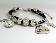 Genuine Braided Leather Charm Bracelet With Name - LOLA - Gifts for her