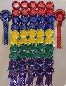 Dog Show Rosettes 10 x 1st to 5th single PAWS plus BIS & RBIS 3 tier PAWS