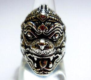 Hanuman Monkey Face Ring Amulet Monkey Ring 925 Sterling Silver size 8-13