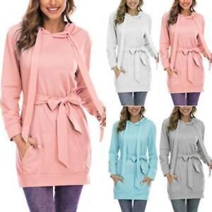 Womens Long Sleeve Belted Hoodie Sweatshirt Dress Solid Casual Hooded Dresses
