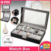 12 Grid Slots Watch Box Leather Display Glass Acrylic Jewelry Storage Case Gift