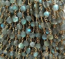 Cyber Monday Labradorite Coin Gemstone 24 Gold Plated Rosary Chain/ Beaded Chain