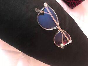 WearMePro Blue Light Glasses for Women/Men CatEye Clear Frame Silver Arms UV Pro