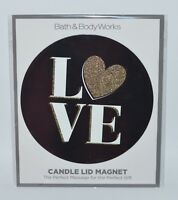 NEW BATH & BODY WORKS LOVE GOLD HEART BLACK MAGNET LARGE 3 WICK CANDLE LID DECOR