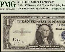 GEM 1935 D $1 DOLLAR OBSTRUCTED PRINT ERROR SILVER CERTIFICATE NOTE PMG 65 EPQ