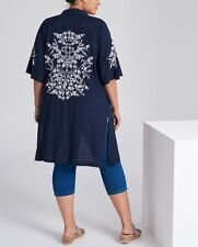 Plus Size Navy Blue & White Embroidered Long Kimono 100 Viscose Sizes 24