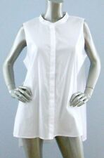 Eileen Fisher Nwt Solid White Mandarin Collar Button Front Long Blouse Small S