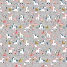 Baumwolle - Happy Horse - Einhörner - grau / rosa / petrol - Stoffperle