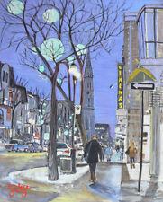 St-Denis Uqam, Montreal Night Lights, 8x10, Darlene Young Canadian Artist