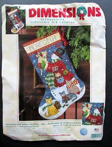 2001 SNOWMAN and KITTIES STOCKING  Christmas Needlepoint Kit