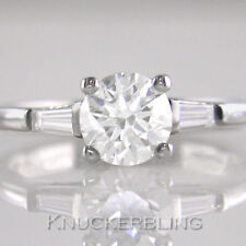 Solitaire with Accents Natural Round VS1 Fine Diamond Rings