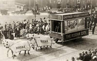 OLD PHOTO Float Pulled By Four Blanketed Horses Eastman Kodak Street Pageant