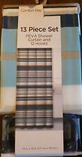 13pc  Shower Curtain & Hooks Bath Set 70 x 72 (177cn x182cm)