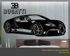 Bugatti Veyron Supercar with Logo Removable Wall Vinyl Decal Sticker Wall Decor