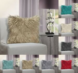 Luxury Shaggy Cushion Cover Cuddly Long Pile Suede Back Decorative Pillow Fur