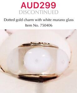 PANDORA 14K gold White Murano Glass Charm, 750406