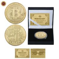 WR Moneda de desafío chapada en oro Bitcoin Coin con caja de regalo de calidad
