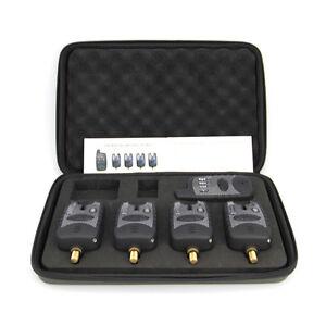 Set of 4 Wireless Waterproof bite alarms & Receiver  Run LED 4+1 bite alarm set