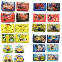 Mickey Spiderman Pokemon Minions Children Boys Wallet Kids Cartoon Coin Purse