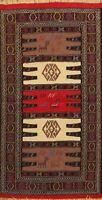 Geometric Tribal Traditional Sumak Kilim Hand-woven Area Rug Wool Oriental 3'x6'