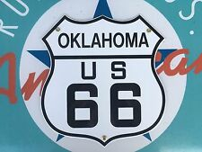 quality ROUTE 66 OKLAHOMA  die-cut SHIELD porcelain coated 18 GAUGE steel SIGN