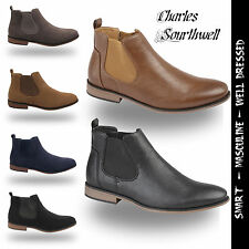 MENS FAUX SUEDE LEATHER SLIP ON ANKLE BOOTS CHELSEA WORK OFFICE CASUAL SHOES