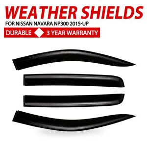 4X Weather Shields Window Visors For NISSAN NAVARA NP300 D23 2015-UP Black