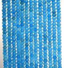 4x3MM Ocean Blue Jade Gemstone Grd Faceted Rondelle 14 Inch (80007365-783)